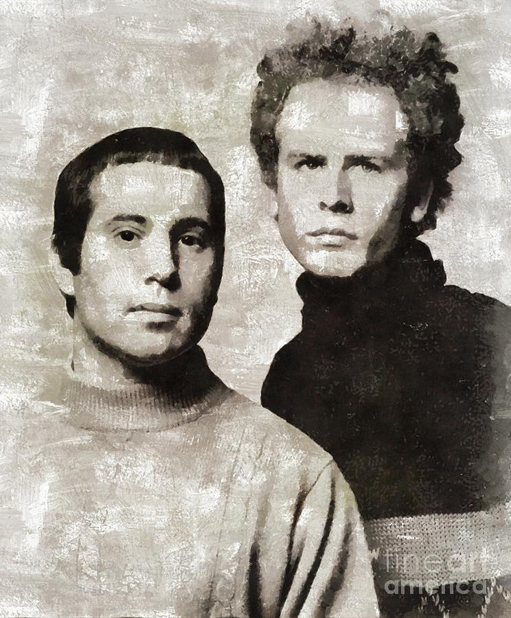 Paul Painting - Simon And Garfunkel, Music Legends by Mary Bassett