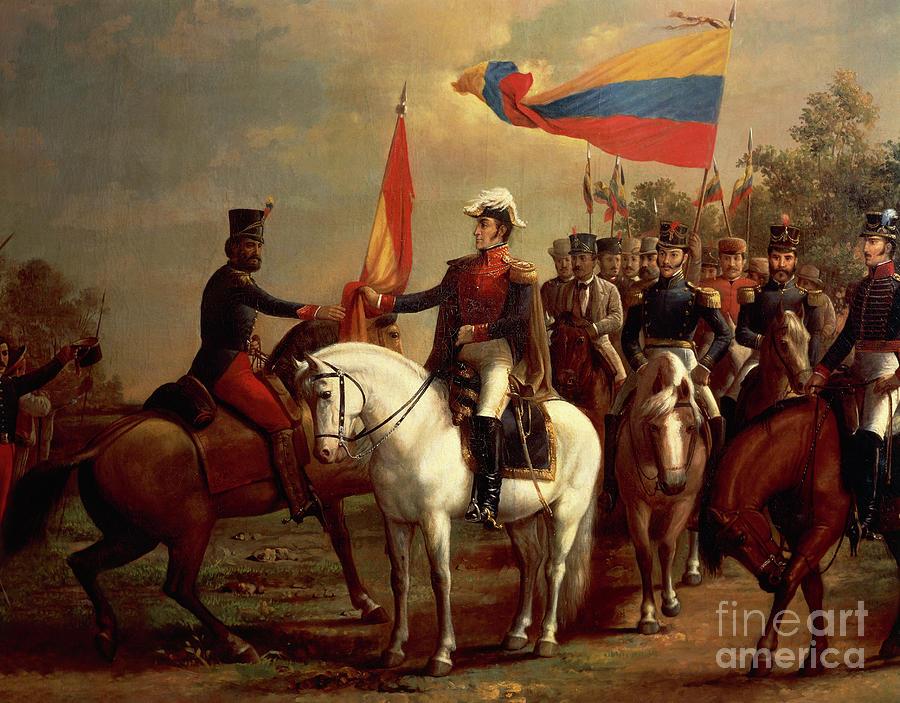Simon Bolivar honoring the flag after Battle of Carabobo, June 24, 1821, by Arturo Michelena  by Arturo Michelena