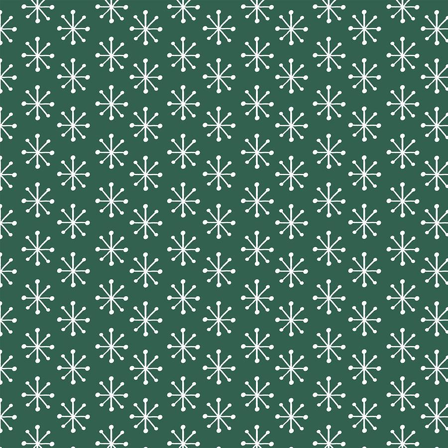 Simple Vintage Snowflake Green Pattern by Jen Montgomery