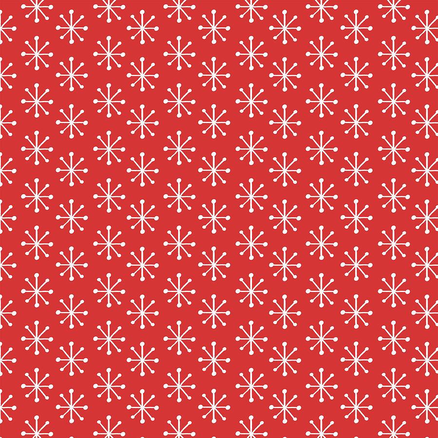 Simple Vintage Snowflake Red Pattern by Jen Montgomery