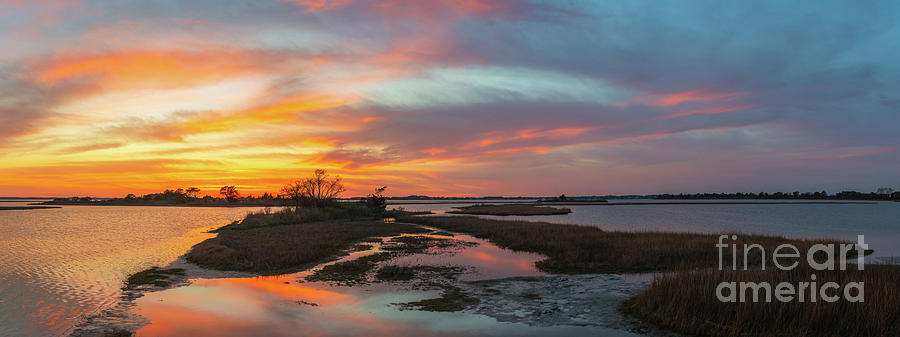Sunset Photograph - Sinepuxent Bay Sunset Panorama  by Michael Ver Sprill