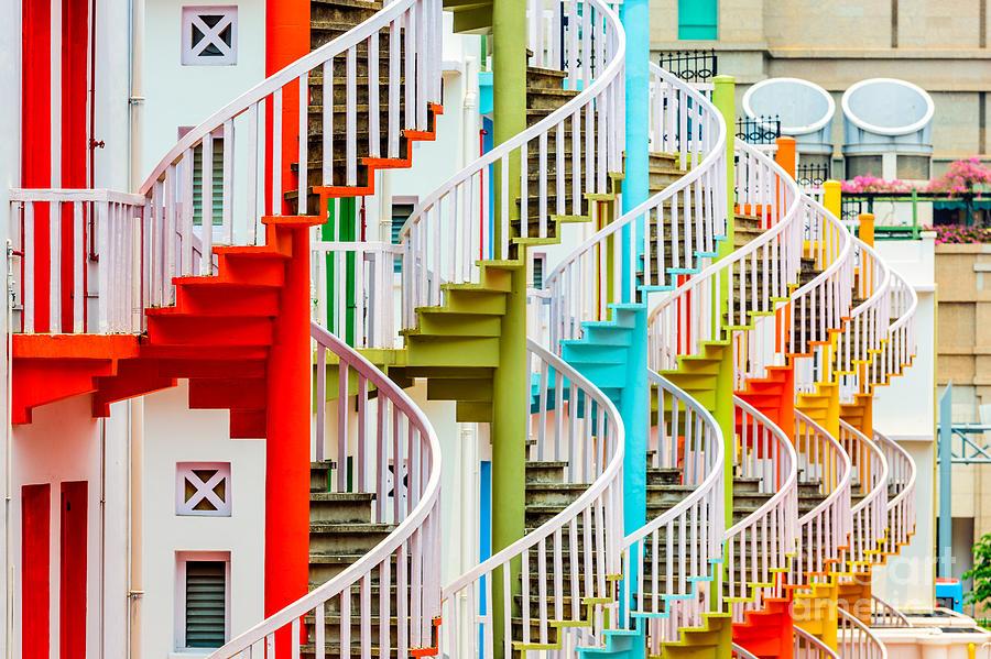 Door Photograph - Singapore At Bugis Village Spiral by Sean Pavone