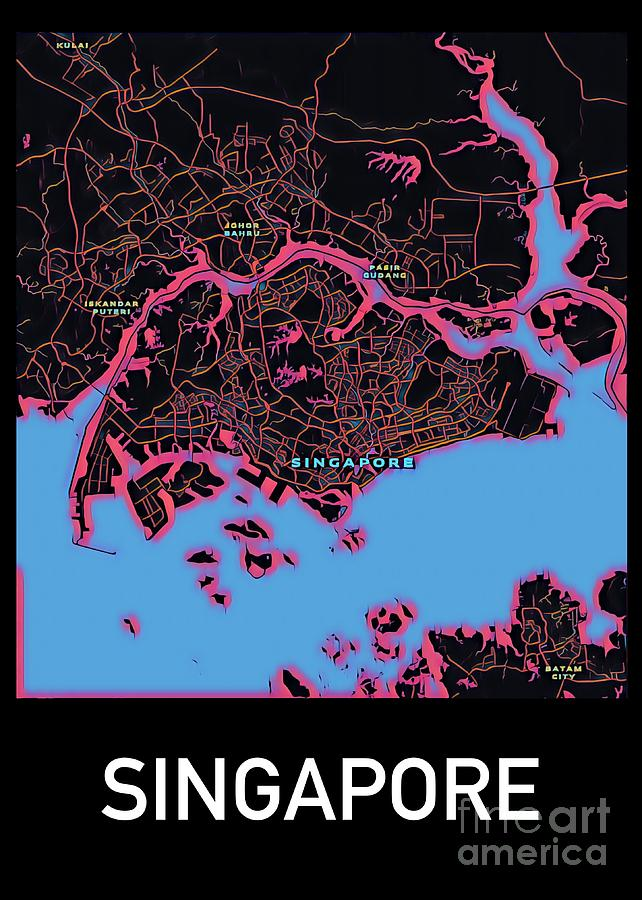 Singapore City Map Digital Art by HELGE Art Gallery