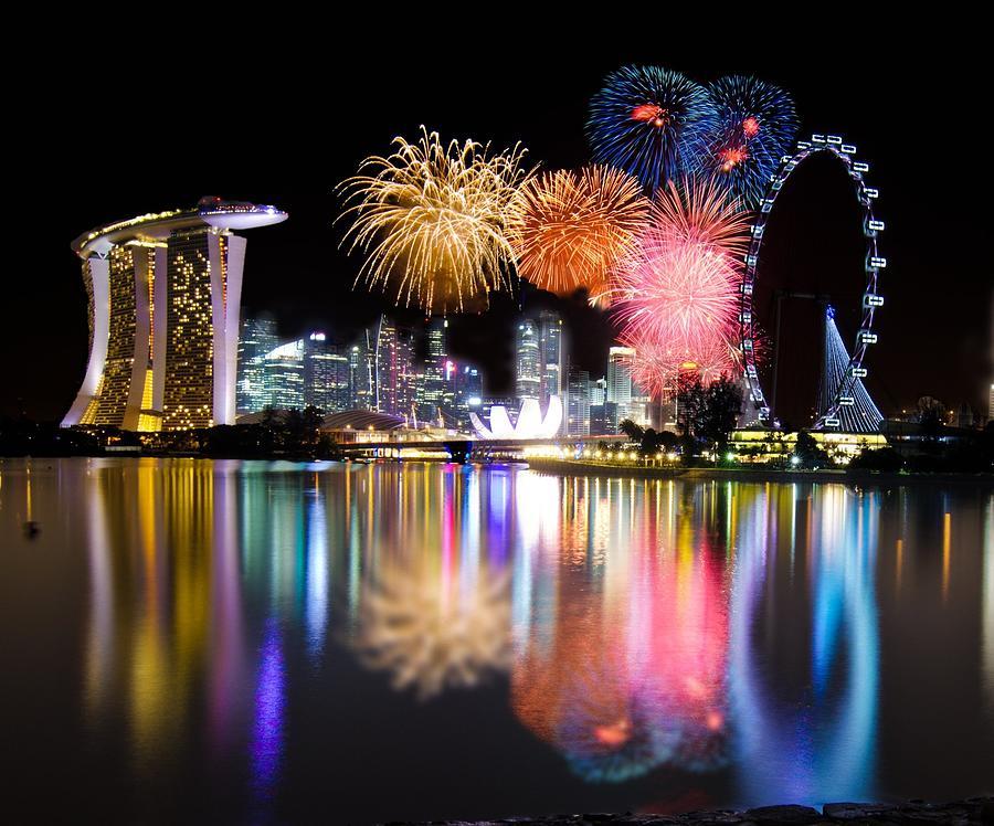 Singapore Countdown 2012 Firework Photograph by Guowen Wang