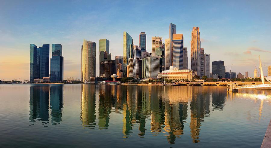 Singapore Financial Skyline, Singapore Photograph by Travelpix Ltd