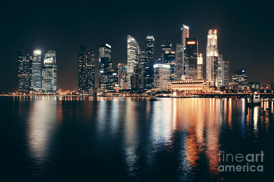 City Photograph - Singapore Skyline At Night With Urban by Songquan Deng
