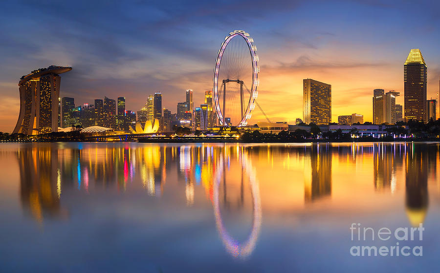Office Photograph - Singapore Skyline. Singapore`s Business by Anek.soowannaphoom
