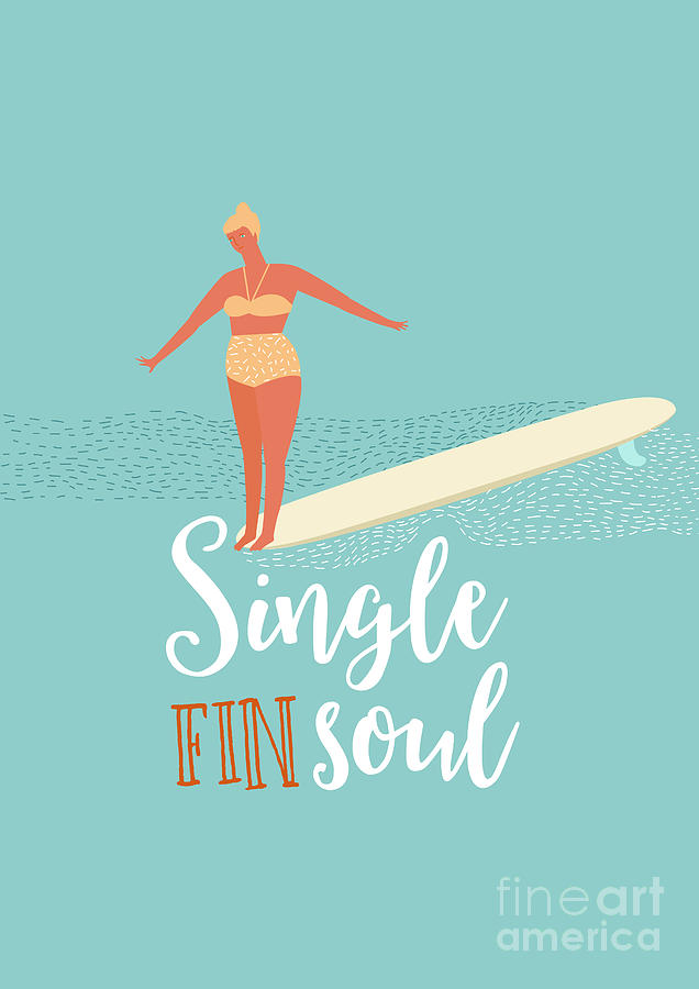 Surfing Digital Art - Single Fin Longboard Surfing by Nicetoseeya
