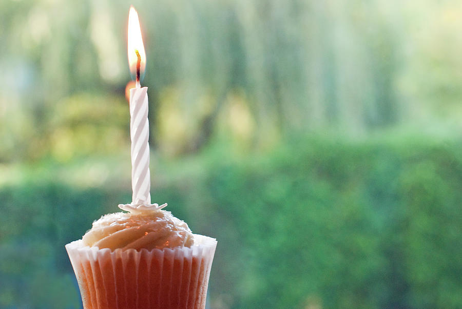 Single Iced Cupcake With Burning Candle Photograph by Sharon Vos-arnold