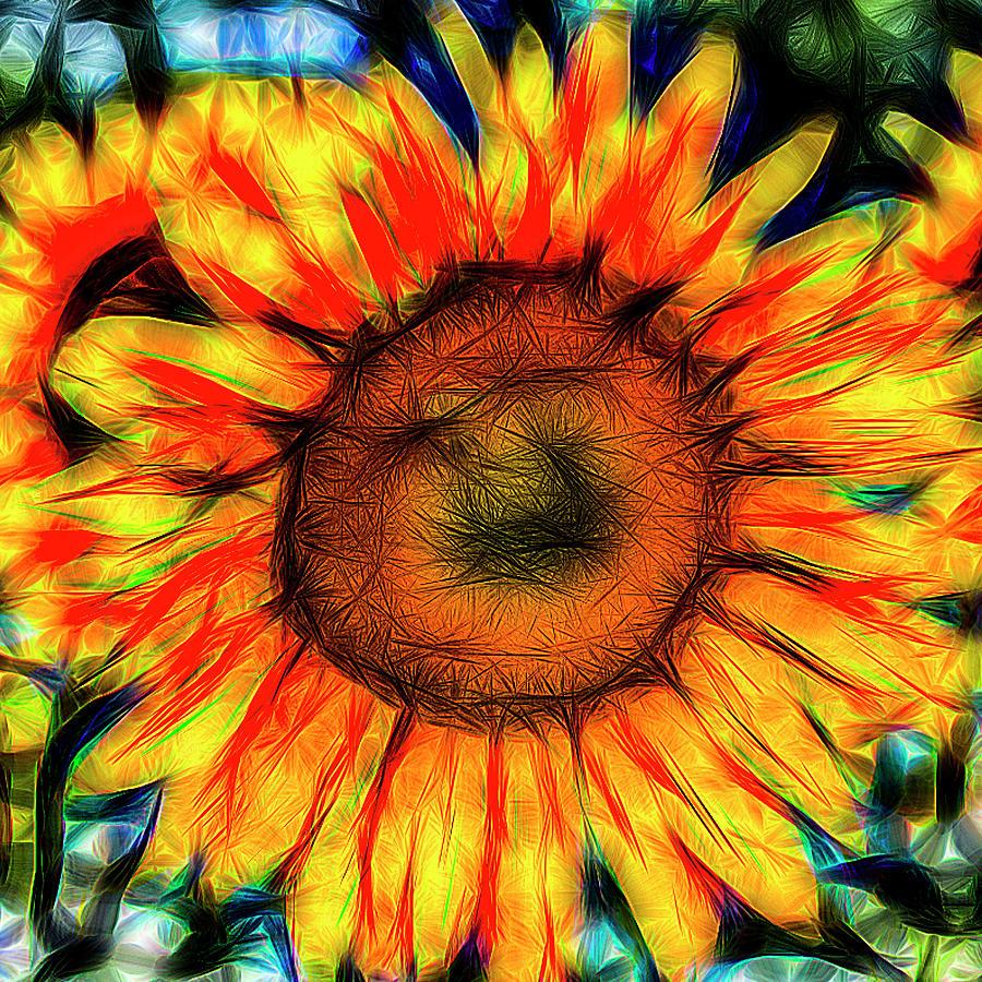 Single Sunflower Art by David Pyatt