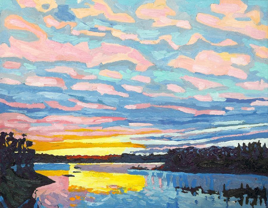November Painting - Singleton November Sunset Altocumulus by Phil Chadwick