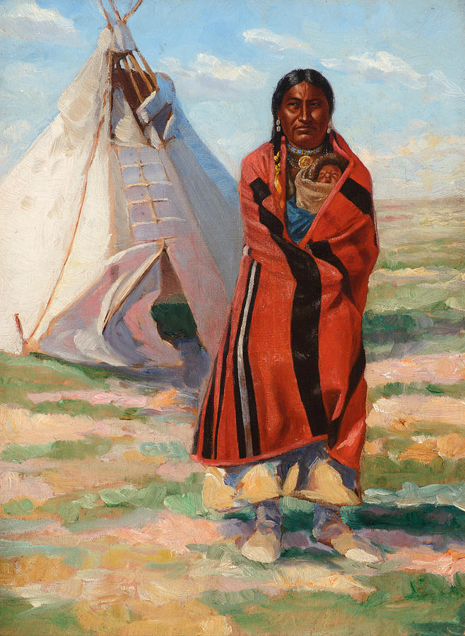 Frank Tenney Johnson Painting - Sioux Woman And Baby, 1890 by Frank Tenney Johnson