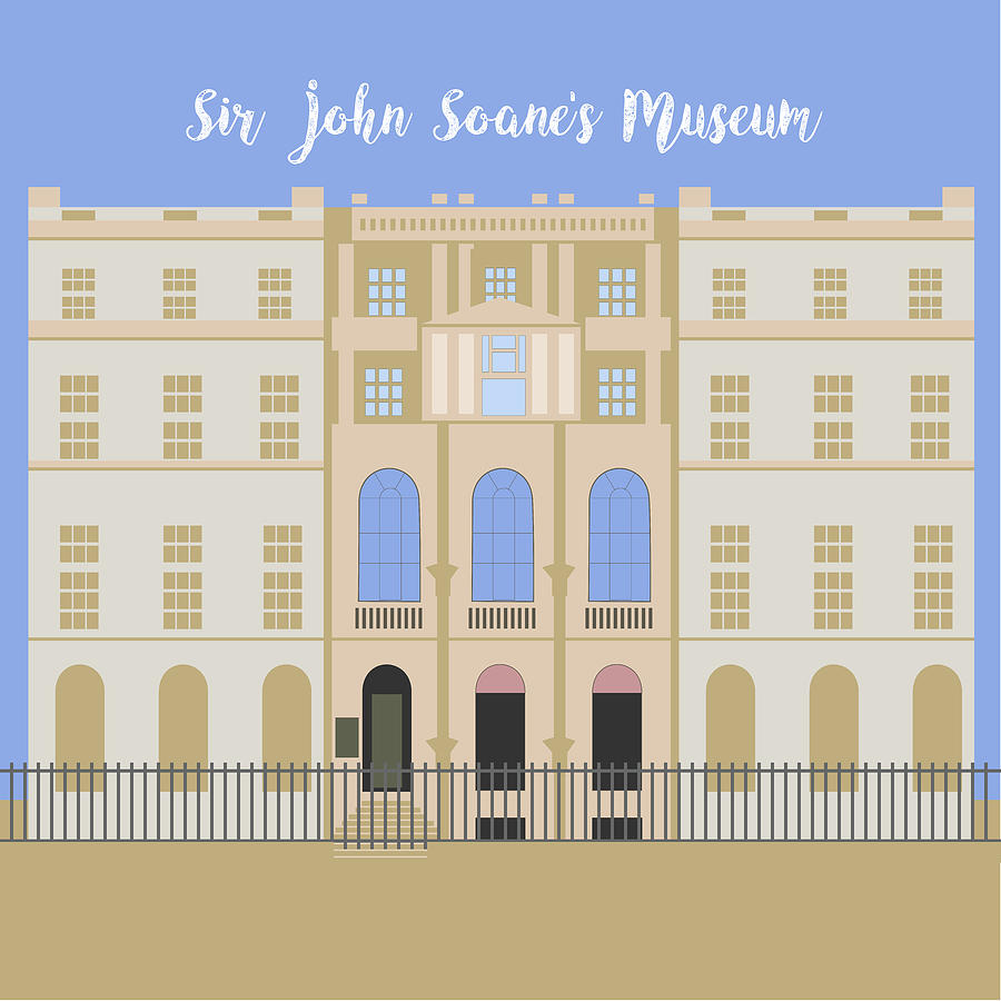 Blue Digital Art - Sir John Soanes Museum by Claire Huntley