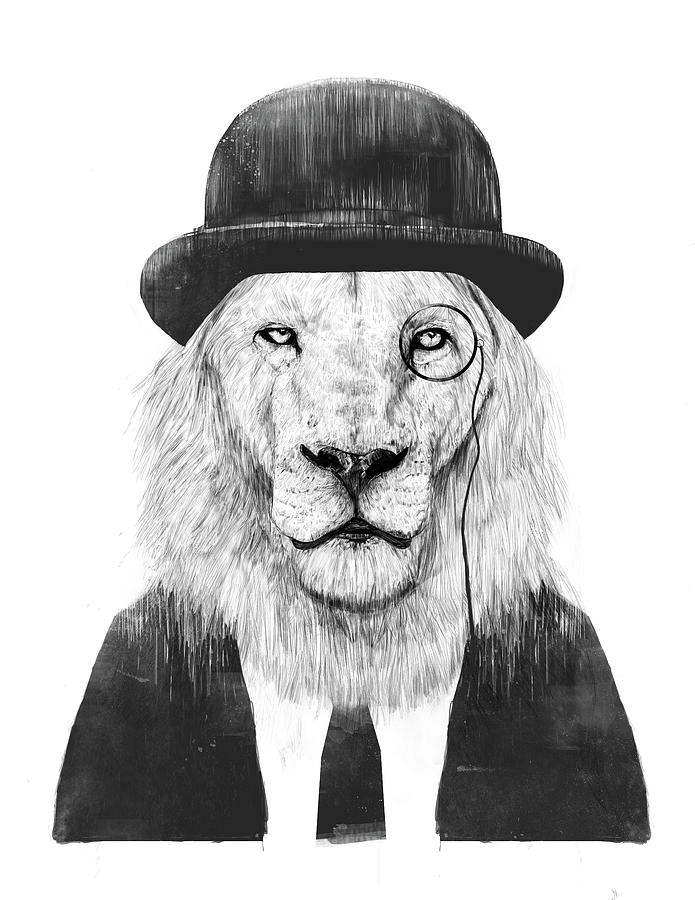 Lion Mixed Media - Sir lion by Balazs Solti