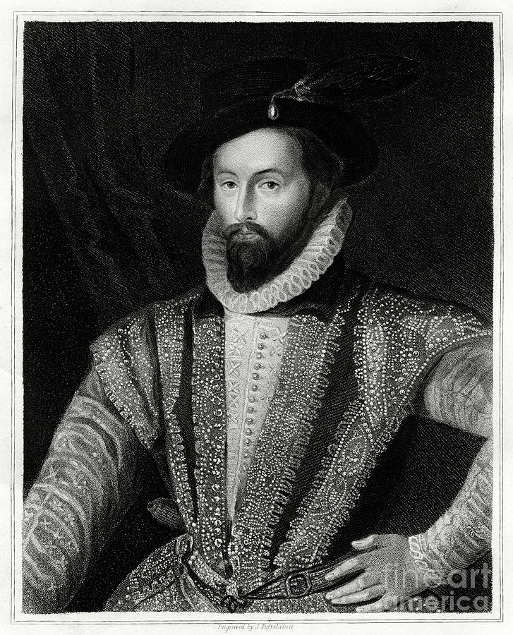 Sir Walter Raleigh, 1860. Artist J Drawing by Print Collector