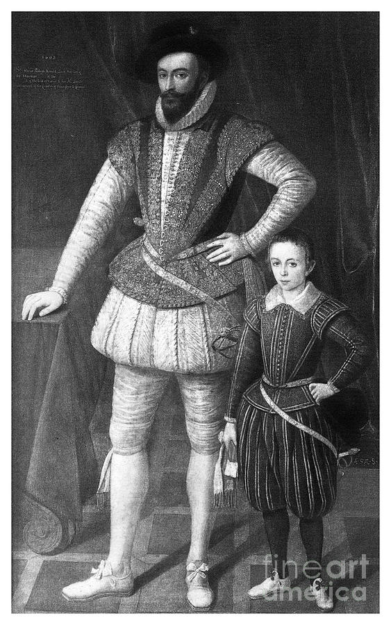 Sir Walter Raleigh And His Son, 1602 Drawing by Print Collector