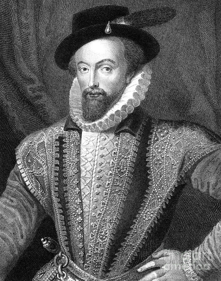 Sir Walter Raleigh, English Writer Drawing by Print Collector