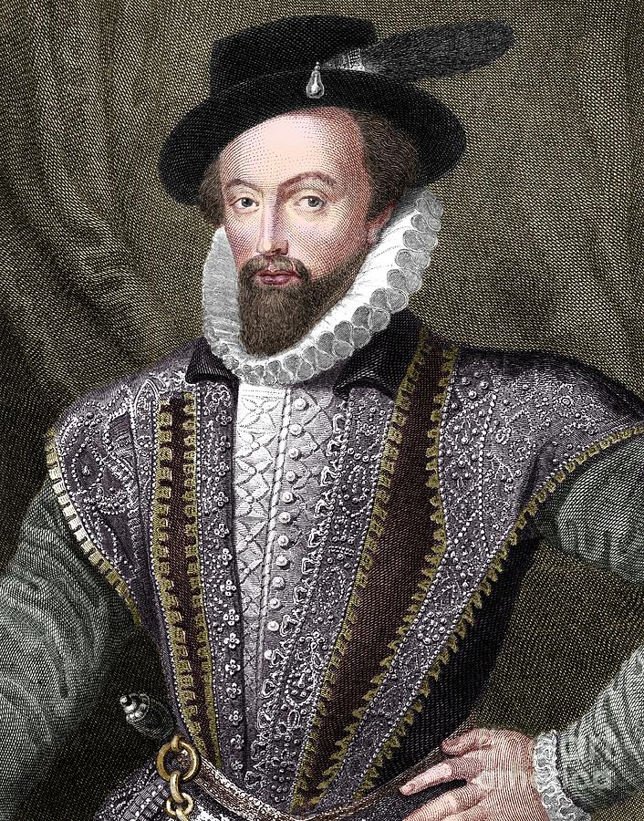 Sir Walter Raleigh Drawing by Print Collector