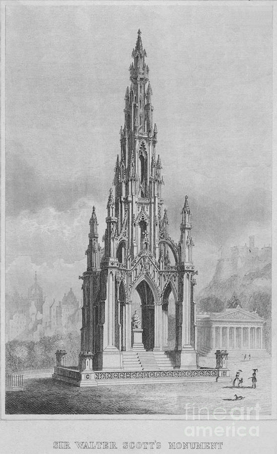 Sir Walter Scotts Monument C Drawing by Print Collector