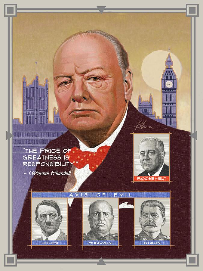 Ww2 Pastel - Sir Winston Churchill by D Robinson