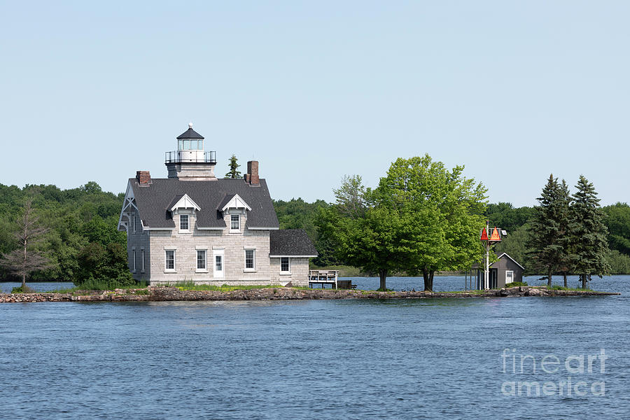 Sister Island lighthouse St Lawrence River New York by Louise Heusinkveld