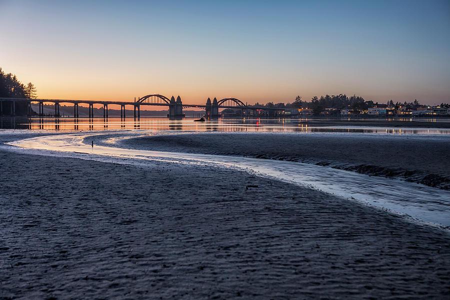 Siuslaw River Bridge and Florence at Dusk, No. 2 by Belinda Greb