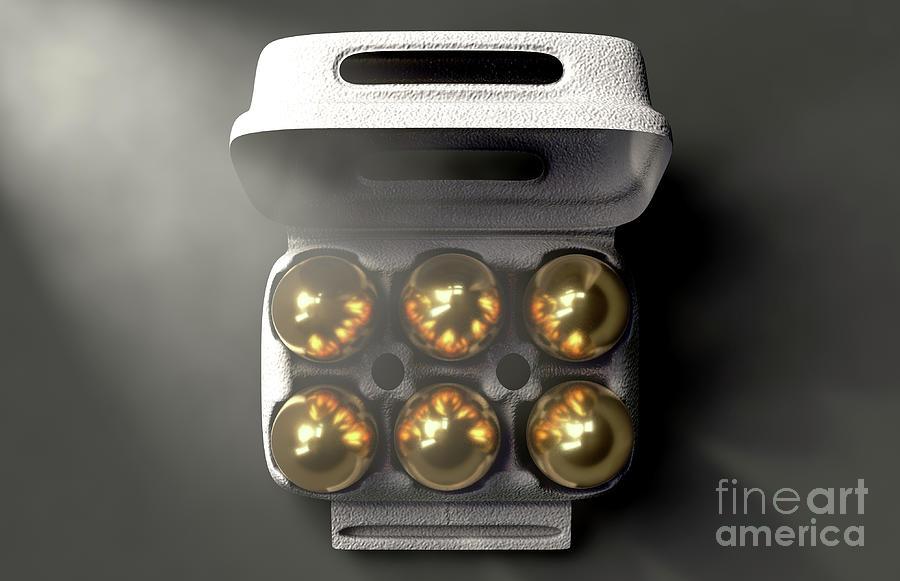 Egg Digital Art - Six Golden Eggs In An Egg Carton by Allan Swart