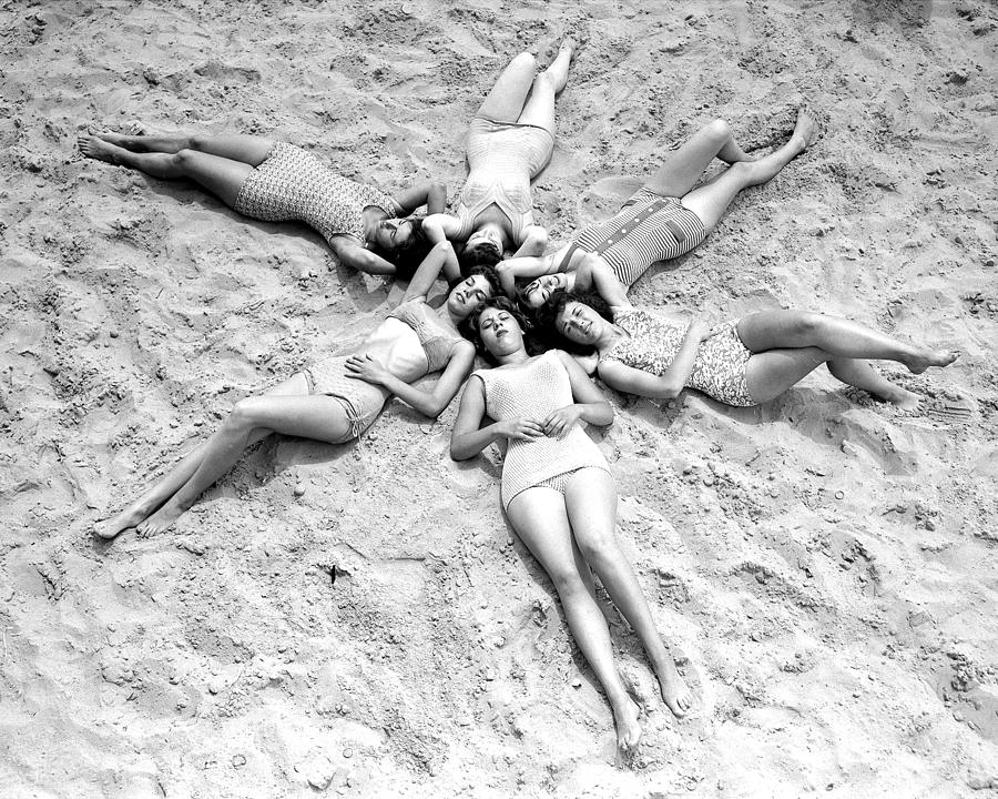 Six Shapely Lasses Hit The Beach With A Photograph by New York Daily News Archive