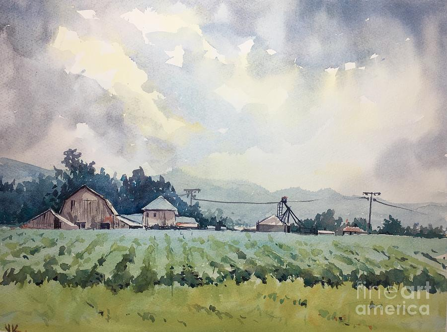 Watercolor Painting - Skagit Farm by Yohana Knobloch