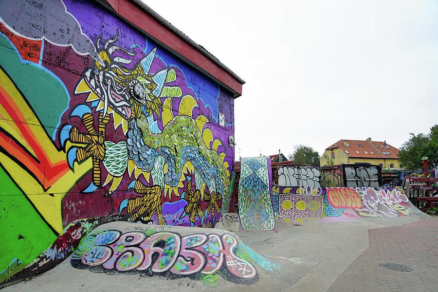 Skateboard Park And Street Art In Freetown Christiania In Copenhagen Denmark by Richard Rosenshein