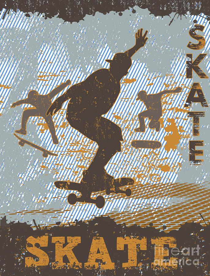 Skateboard Digital Art - Skateboarding Grunge Poster Background by Ducu59us