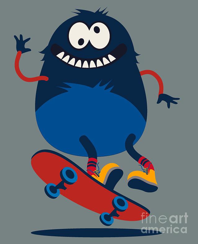 Symbol Digital Art - Skater Monster Victor Design For Kids by Braingraph