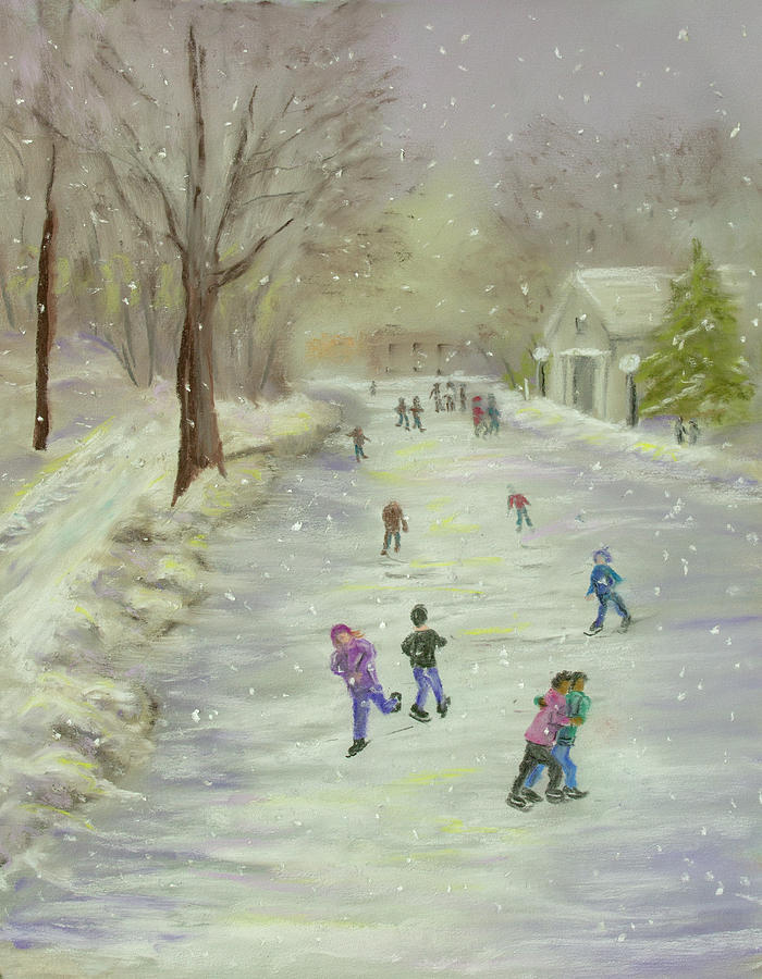 Snow Painting - Skaters by Dorothy Riley