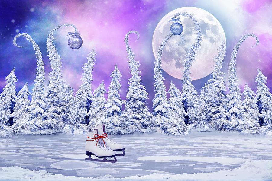 Christmas Digital Art - Skating Time by Mihaela Pater