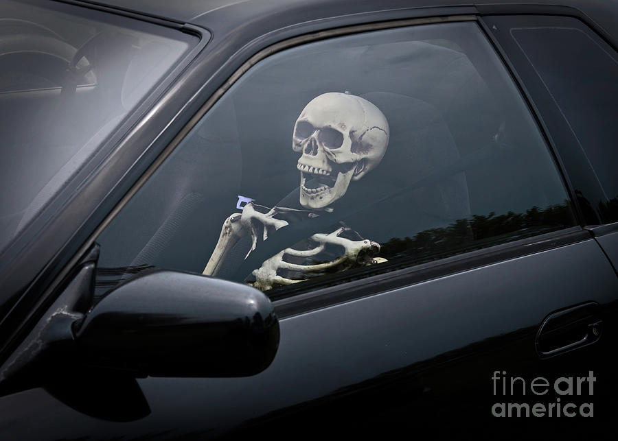 Skeleton In Front Seat Of Car Photograph by Trina Loucks