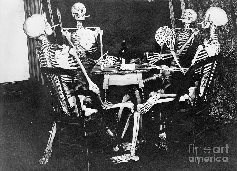 Skeletons Smoking While Playing Bridge Photograph by Bettmann