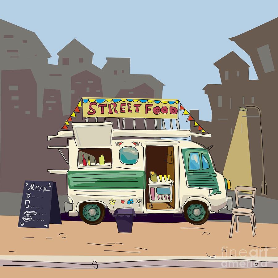 Motor Digital Art - Sketch Car Street Food, City, Cartoon by Valeri Hadeev