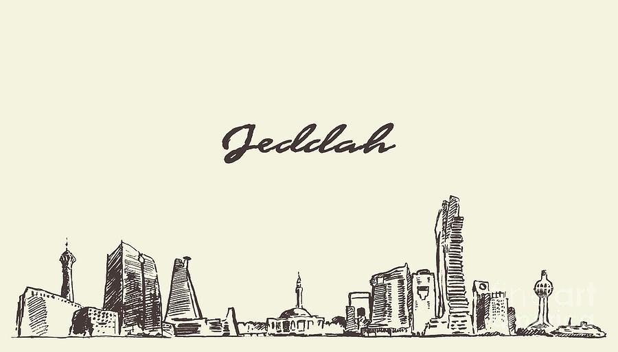 Sketch Jeddah Skyline Vector Digital Art by Thedafkish