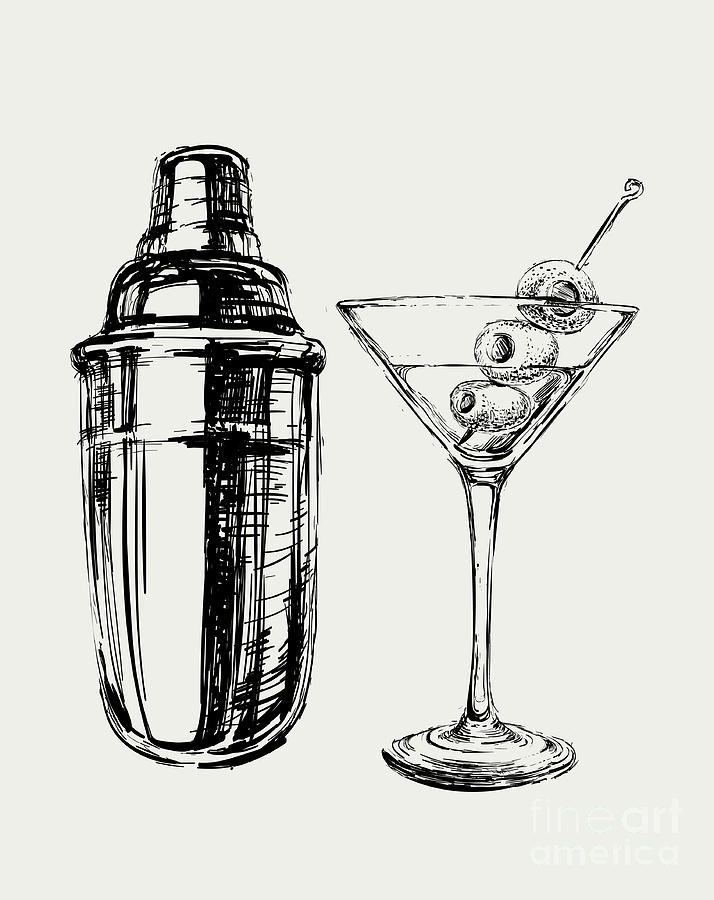 Symbol Digital Art - Sketch Martini Cocktails With Olives by Mazura1989