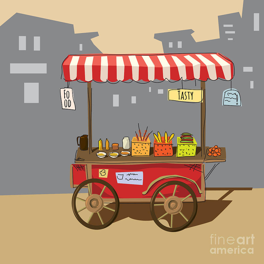 Small Digital Art - Sketch Of Street Food Carts, Cartoon by Valeri Hadeev