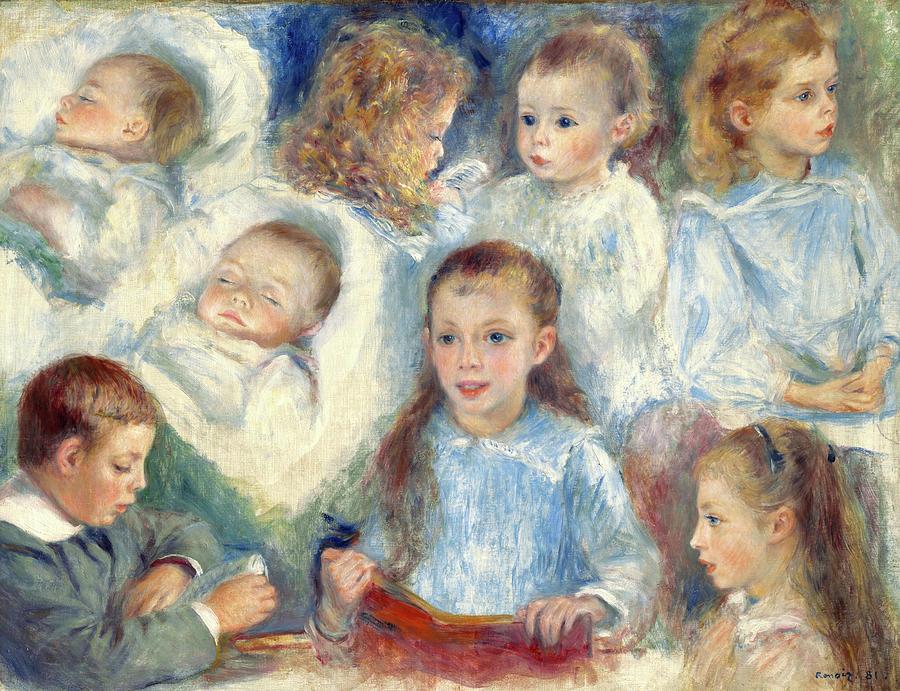 Pierre-auguste Renoir Painting - Sketches Of Heads, The Berard Children, 1881 by Pierre-Auguste Renoir