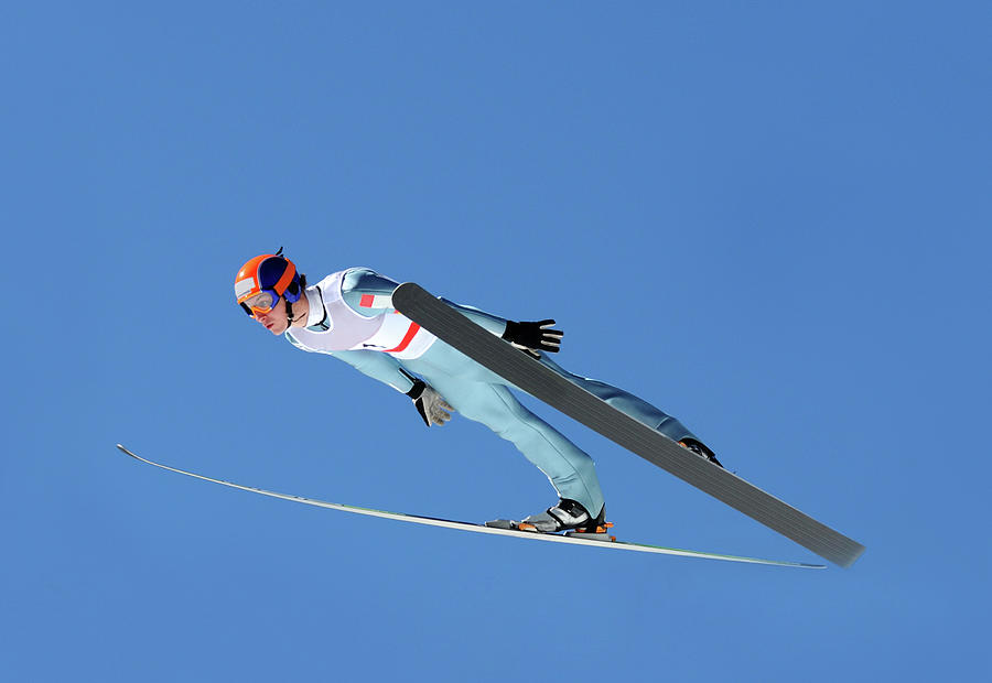 Ski Jumper Flying Photograph by Technotr