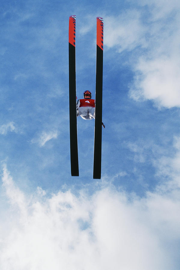 Ski Jumper Flying Through The Sky, View Photograph by David Madison