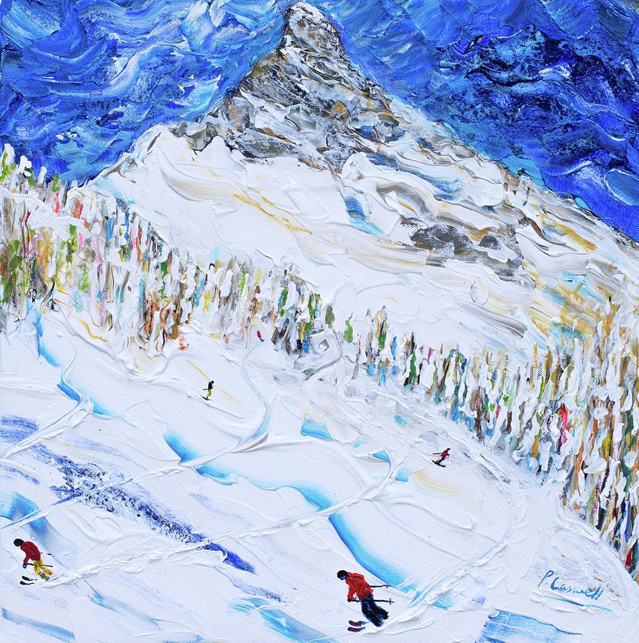 Zermatt Painting - Ski Print Matterhorn Zermatt by Pete Caswell