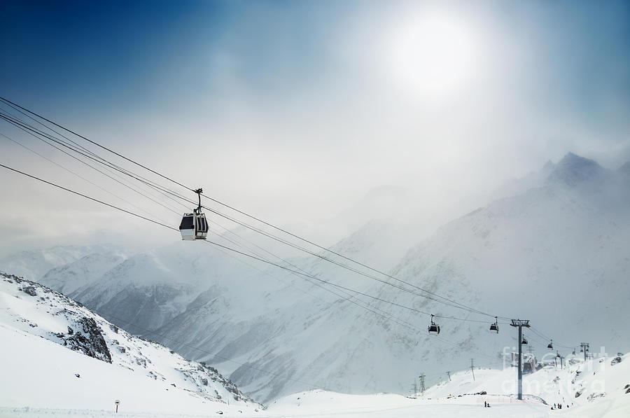 Country Photograph - Ski Resort In The Winter Mountains by Olga Gavrilova