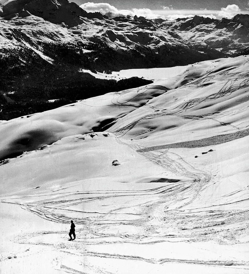 Ski Tracks On Alpine Slopes Of Winter Photograph by Alfred Eisenstaedt
