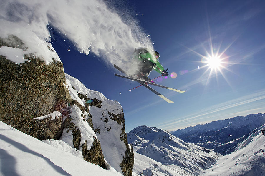 Skier In Midair On Snowy Mountain Photograph by Michael Truelove