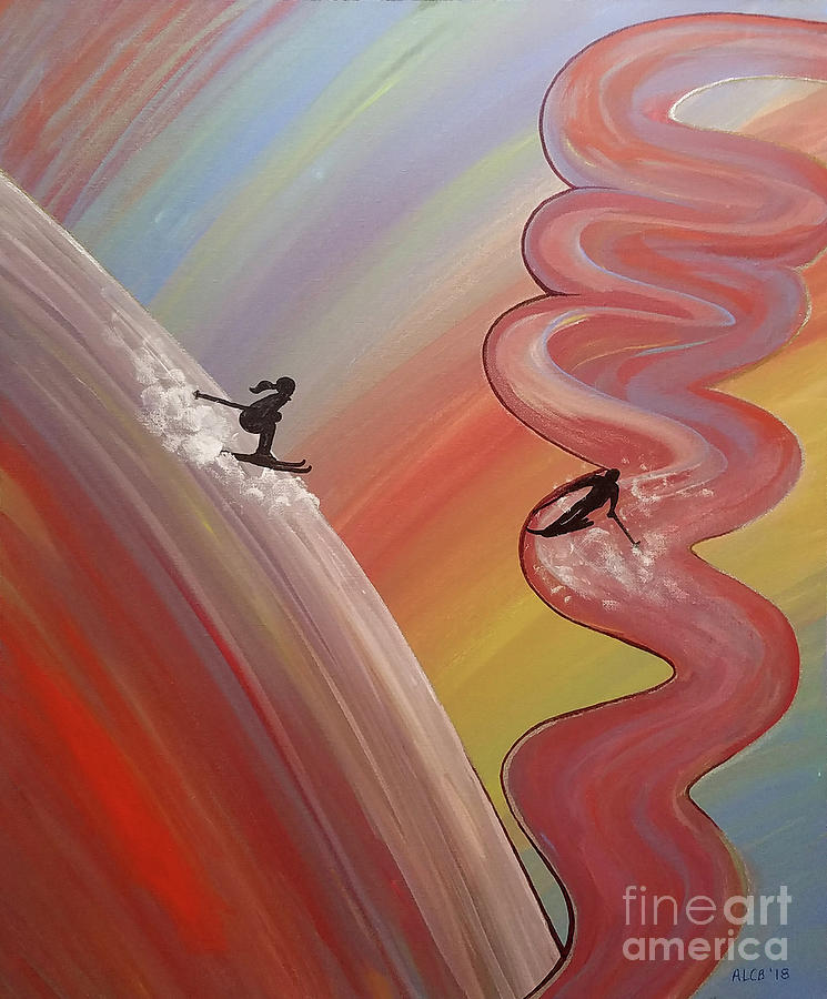 Skier Mixed Media - Skiers by Amy Lee Coy