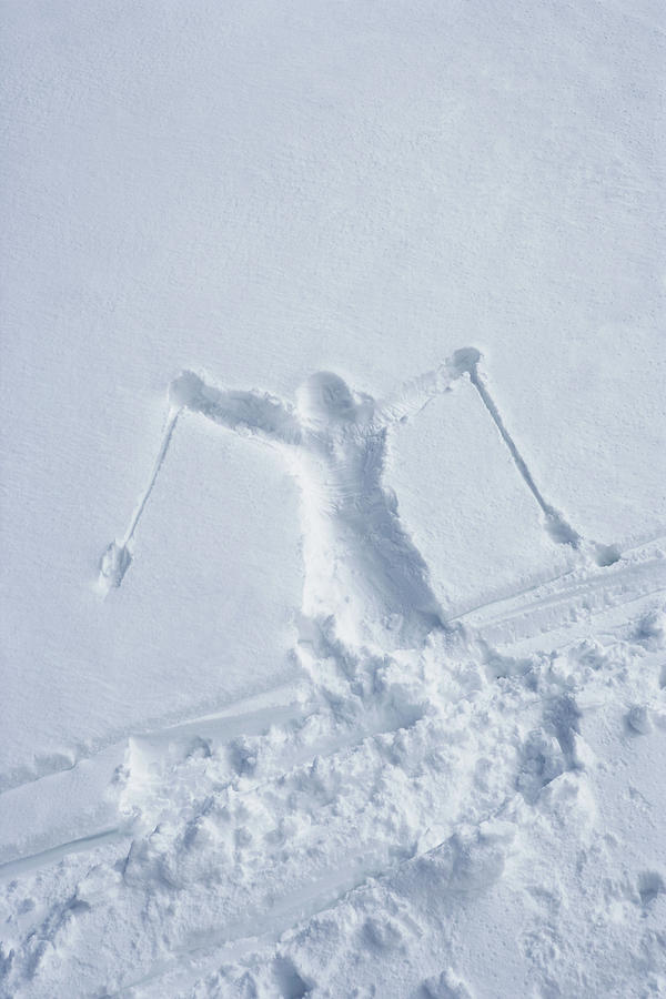 Skiers Outline In The Snow Photograph by Adie Bush