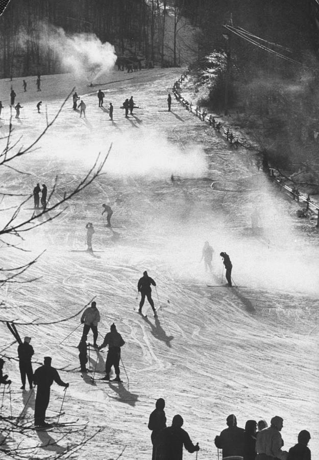 Skiers Skiing On Artificial Snow.  Phot Photograph by George Silk